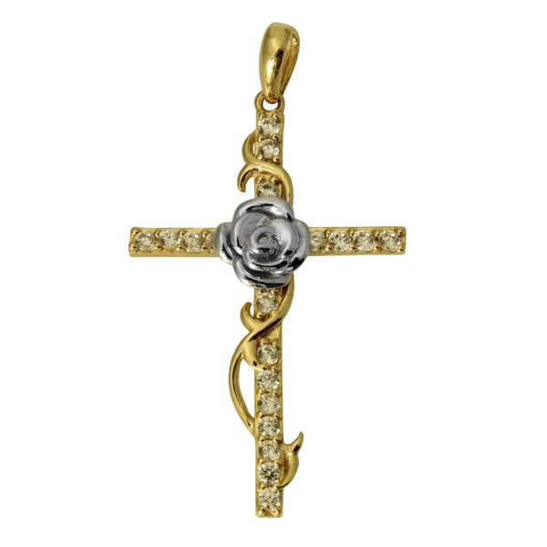 14K Real 2 Tone Yellow White Gold Religious Fancy Cross Rose Charm Pendant