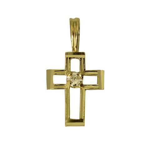 14K Real Yellow Gold Religious Fancy Cross Cubic Zirconia Very Tiny Charm Pendant for Children & Baby