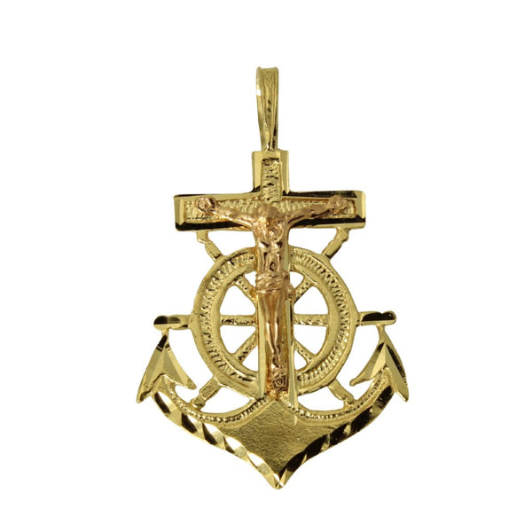 14K Real 2 Tone Yellow Rose Gold Diamond Cut Small Jesus Crucifix Anchor Charm Pendant