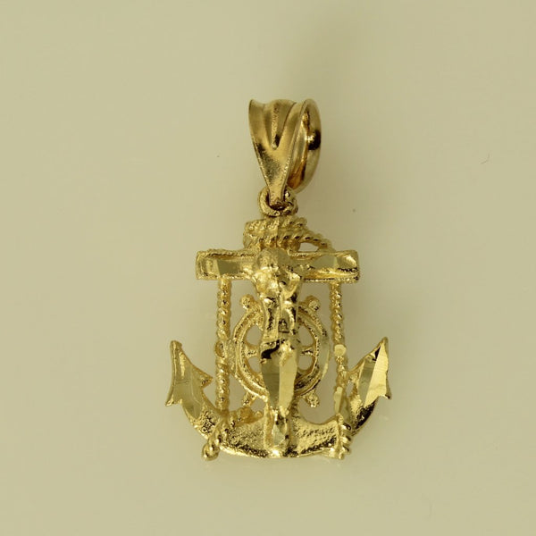 14K Real Yellow Gold Diamond Cut Jesus Crucifix Anchor Small Charm Pendant