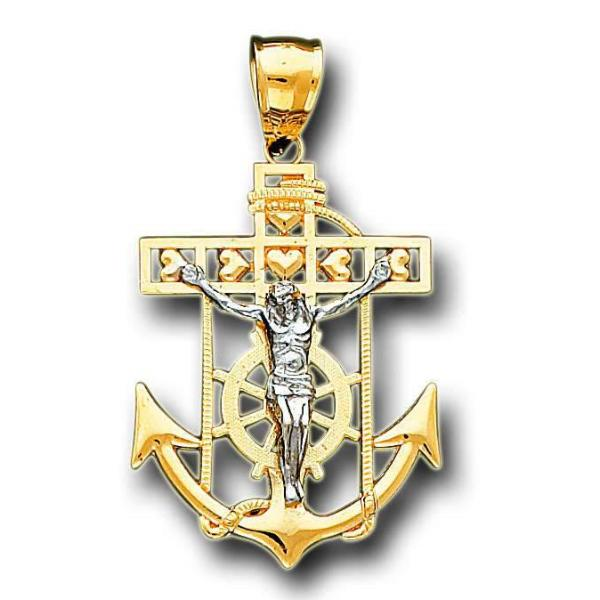 14K Real 2 Tone Yellow White Gold Jesus Anchor Crucifix Heart Charm Pendant