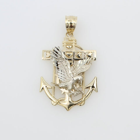 14K Real 2 Tone Yellow White Gold Eagle Anchor Charm Pendant