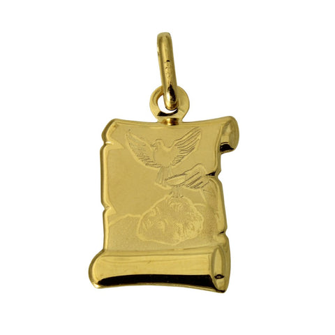 14K Real Yellow Gold Recuerdo Del Bautismo Baby Scroll Small Charm Pendant Baptism