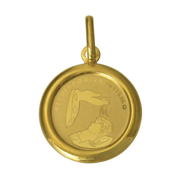 14K Real Yellow Gold Recuerdo Del Bautismo Baby Small Charm Round Pendant Baptism