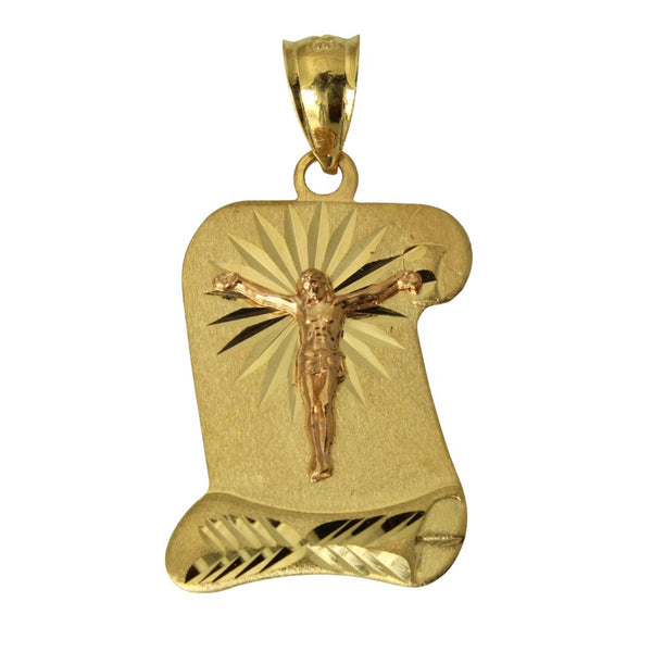 14K Real 2 Tone Yellow Rose Gold Jesus Diamond Cut Scroll Charm Pendant