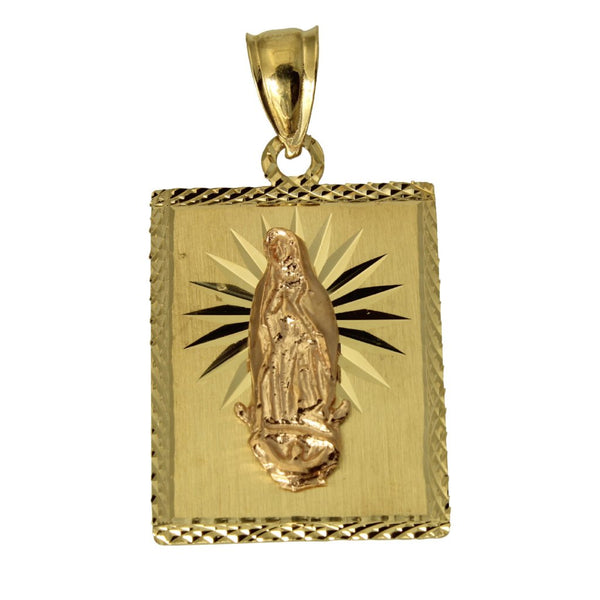14K Real 2 Tone Yellow Rose Gold Virgin Mary Guadalupe Diamond Cut Rectangular Charm Pendant