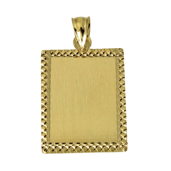 14K Real Yellow Gold Dog ID Rectangular Tag Diamond Cut Charm Pendant