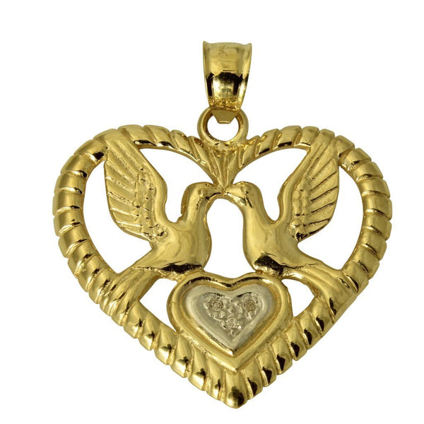 14K Real 2 Tone Yellow White Gold Love Birds Heart Cubic Zirconia Charm Pendant