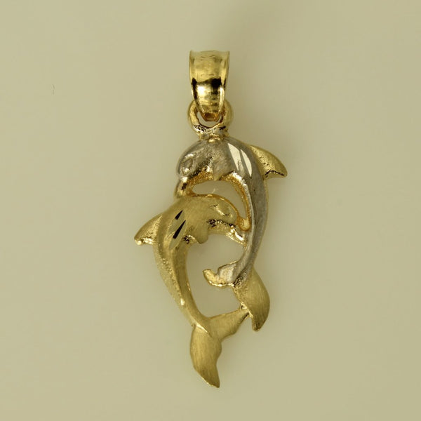 14K Real 2 Tone Yellow White Gold Diamond Cut 2 Dolphins Small Charm Pendant