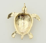 14K Real Yellow Gold Diamond Cut Sea Turtle Charm Pendant Open Back