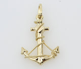 14K Real Authentic Yellow Gold Small Anchor 3D Puffed Hollow Charm Pendant