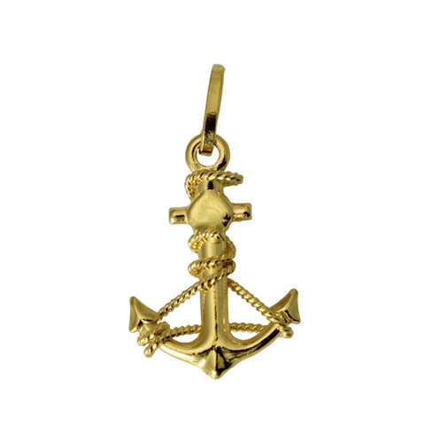 14K Real Yellow Gold Hollow 3D Puffed Small Anchor Charm Pendant