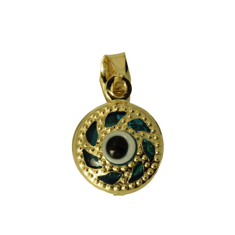 14K Real Yellow Gold Hollow 3D Round Evil Eye Very Tiny Charm Pendant Mal De Ojo