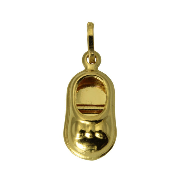 14K Real Yellow Gold Baby Shoe Hollow 3D Puffed Small Charm Pendant