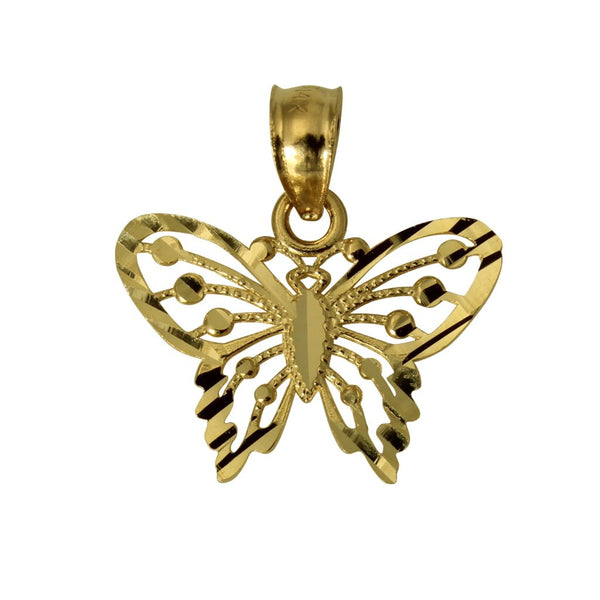 14K Real Yellow Gold Butterfly Diamond Cut Tiny Light Charm Pendant