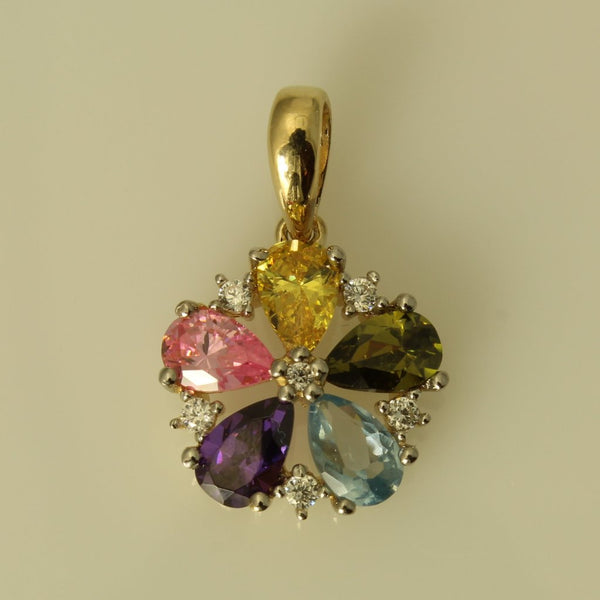14K Real Yellow Gold Multi Color Cubic Zirconia Flower Tiny Charm Pendant