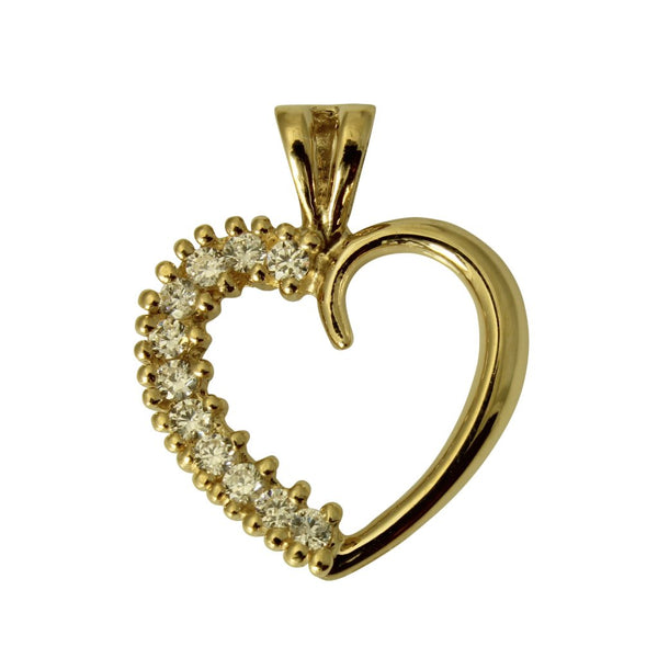 14K Real Yellow Gold Round Cubic Zirconia Heart Love Small Charm Pendant