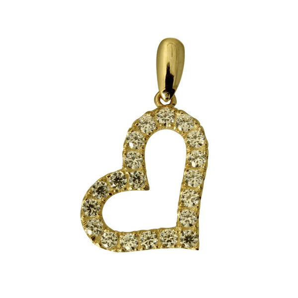 14K Real Yellow Gold Fancy Cubic Zirconia Heart Small Charm Pendant
