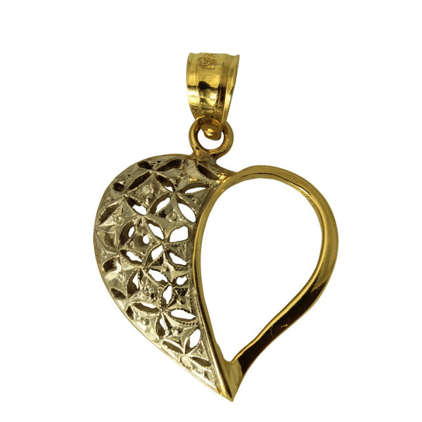 14K Real 2 Tone Yellow White Gold Love Heart Small Charm Pendant