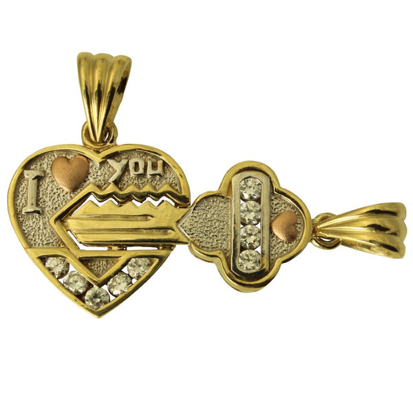 14K Real 3 Color Yellow White Rose Gold Lock & Key to my Heart Charm Pendant