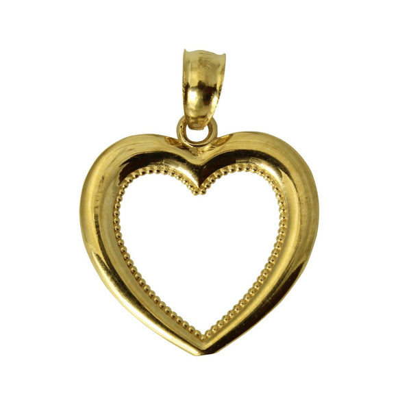 14K Real Yellow Gold Small Light Heart Love Charm Pendant