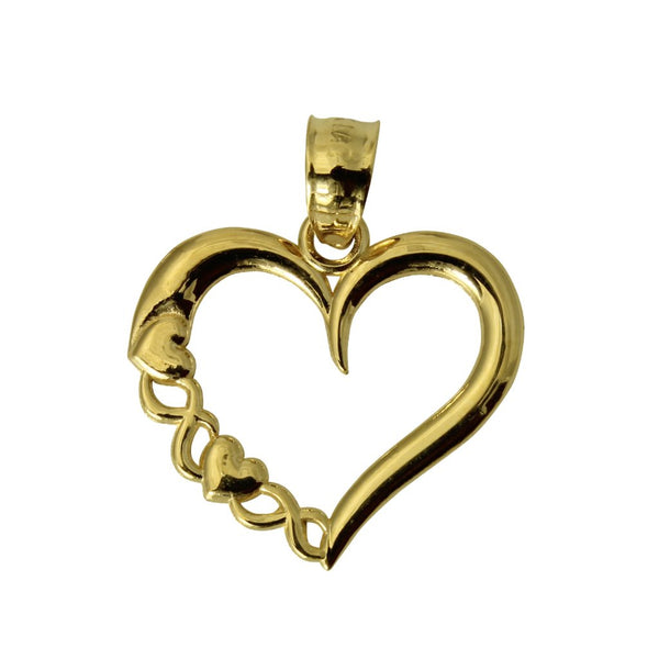 14K Real Yellow Gold Tiny Light Heart Love Charm Pendant