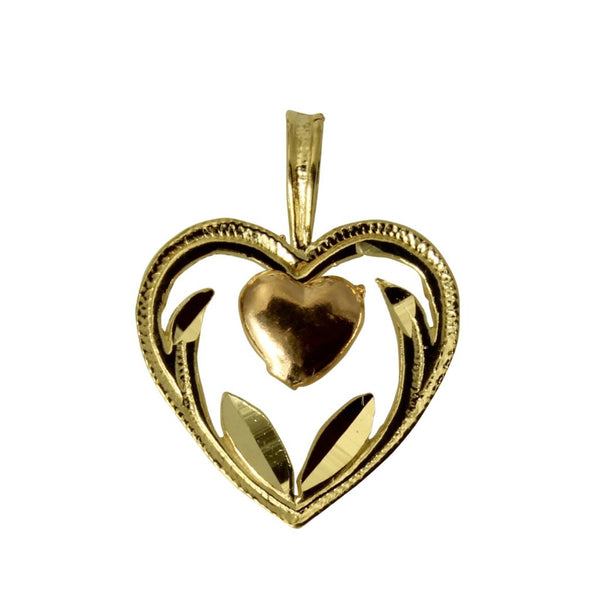 14K Real 2 Tone Gold Yellow White Very Tiny Light Heart Love Charm Pendant for Children & Baby