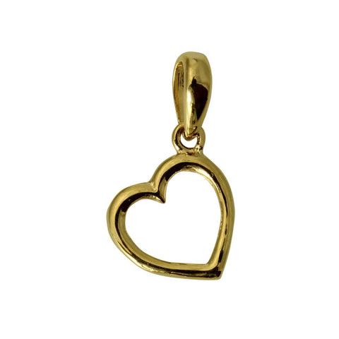 14K Real Yellow Gold Heart Love Light Tiny Charm Pendant for Children & Baby