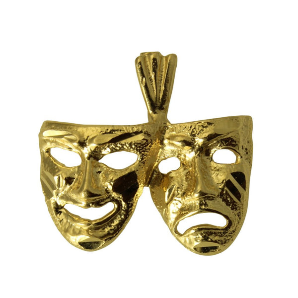 14K Real Yellow Gold Comedy Tragedy Happy Sad Face Mask Small Charm Pendant