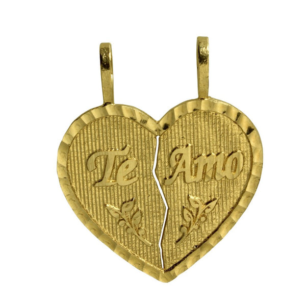 "14K Real Yellow Gold ""Te Amo"" Heart Split Breakable Broken Diamond Cut Small Charm Pendant"