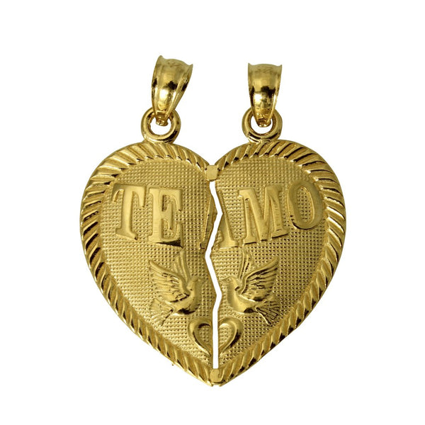 "14K Real Yellow Gold ""Te Amo"" Heart Split Breakable Broken Small Charm Pendant"