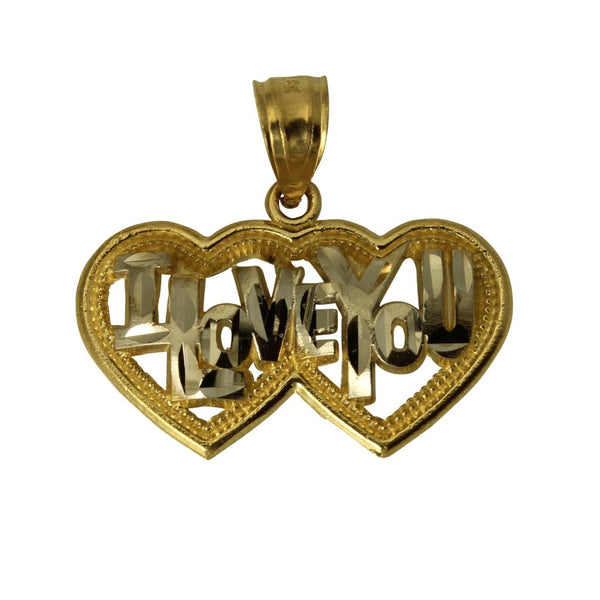 "14K Real 2 Tone Yellow White Gold ""I LOVE YOU"" 2 Hearts Small Charm Pendant"