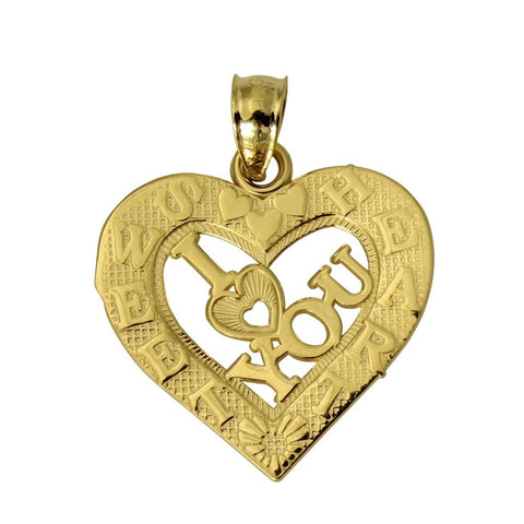 "14K Real Yellow Gold ""I LOVE YOU"" Sweet Heart Small Charm Pendant"