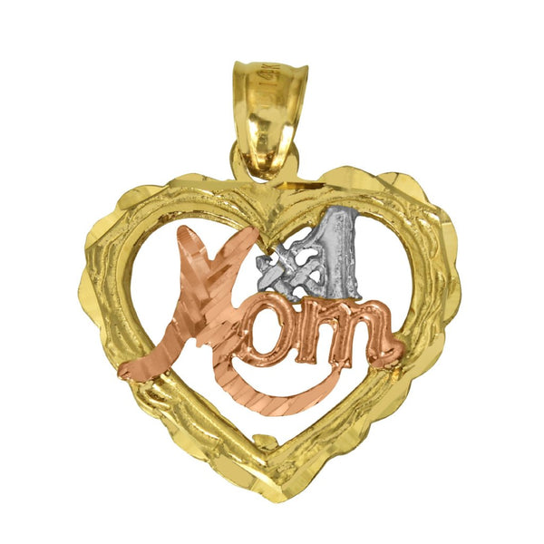 "14K Real 3 Color Yellow White Rose Gold ""#1 Mom"" Diamond Cut Heart Charm Pendant"