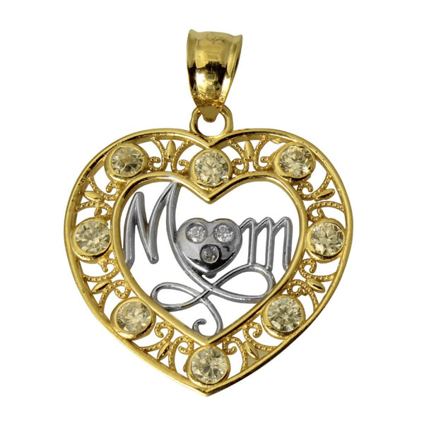 "14K Real 2 Tone Yellow White Gold ""Mom"" Heart Cubic Zirconia Charm Pendant"
