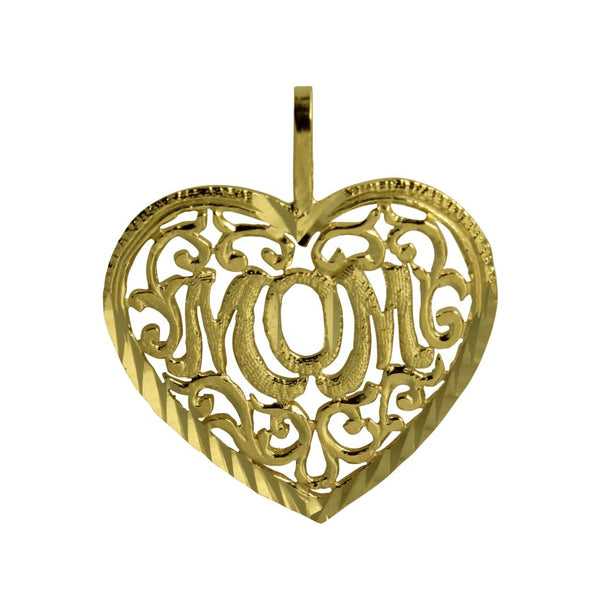 "14K Real Yellow Gold ""Mom"" Diamond Cut Heart Charm Pendant"