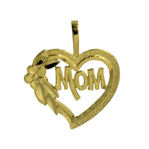 "14K Real Yellow Gold ""Mom"" Diamond Cut Flower Heart Small Light Charm Pendant"