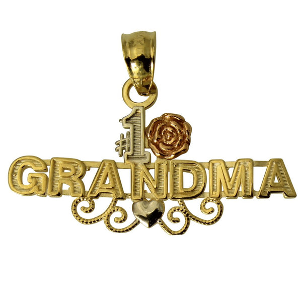 "14K Real 3 Color Yellow White Rose Gold ""#1 Grandma"" Rose Heart Small Charm Pendant"