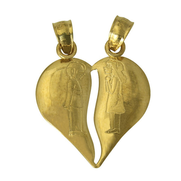 14K Real Yellow Gold Boy & Girl 2 Broken Breakable Split Heart Small Charm Pendant