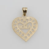 "14K Real Yellow Gold ""A MOR"" Heart Small Charm Pendant"