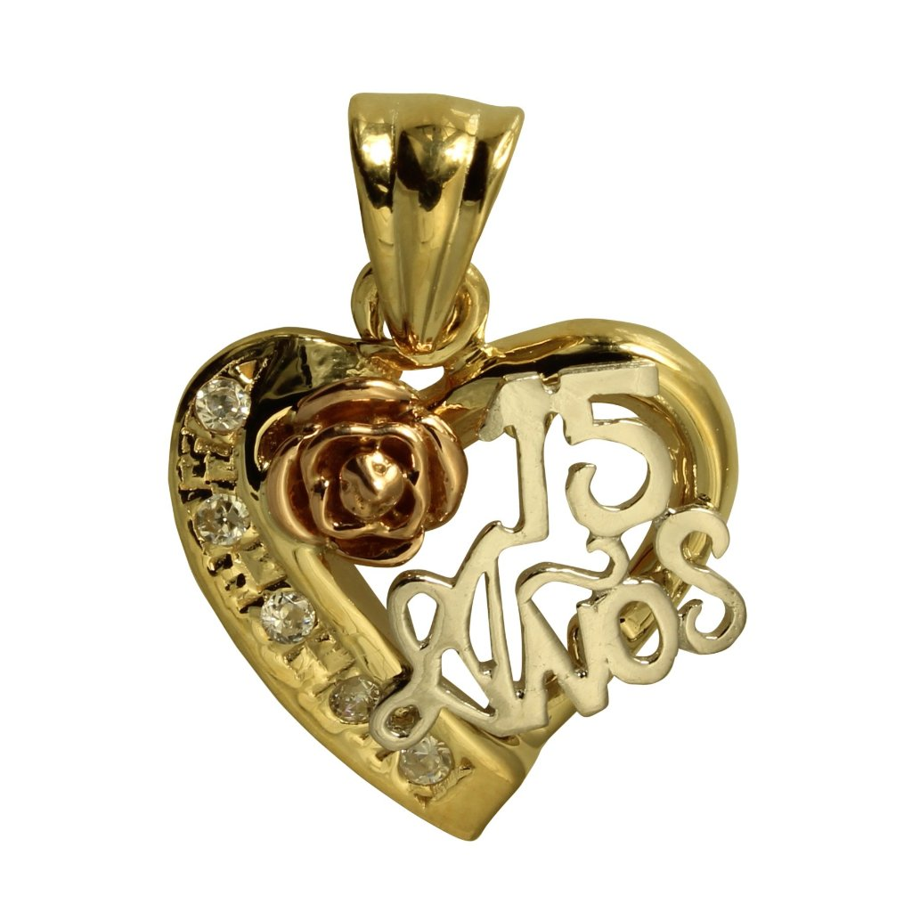 170e0b42b 14K Real 3 Color Yellow White Rose Gold 15 Anos Quinceanera Heart Cubic  Zirconia Charm Pendant