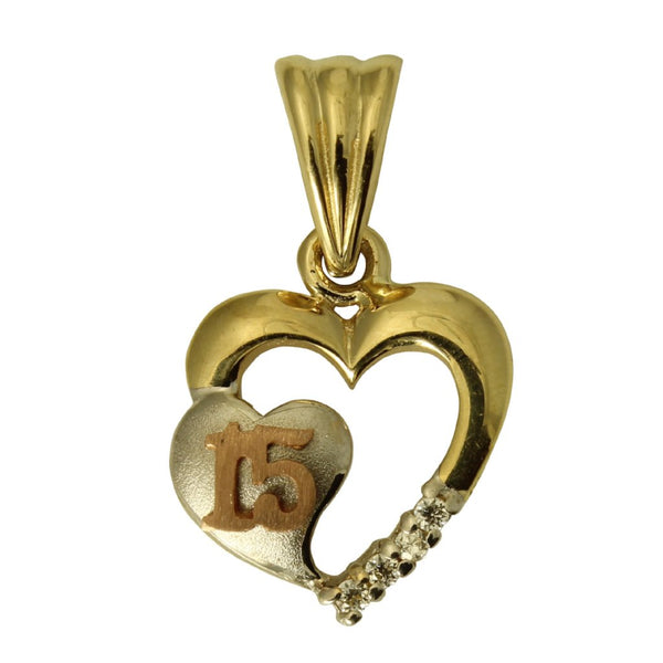 14K Real 3 Color Yellow White Rose Gold 15Anos Quinceanera Heart Cubic Zirconia Charm Pendant