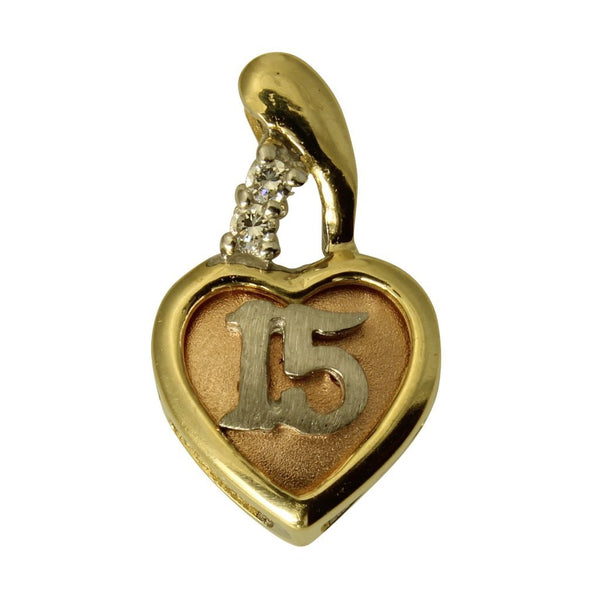 14K Real 3 Color Yellow White Rose Gold 15 Anos Quinceanera Heart Cubic Zirconia Small Charm Pendant