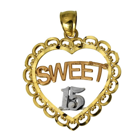 14K Real 3 Color Yellow White Rose Gold Sweet 15 Anos Quinceanera Heart Charm Pendant