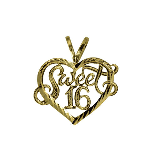 14K Real Yellow Gold Sweet 16 Diamond Cut Heart Charm Pendant