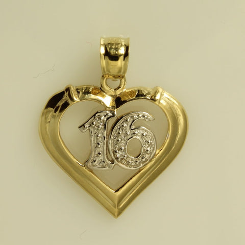 14K Real 2 Tone Yellow White Gold Sweet 16 Heart Charm Pendant