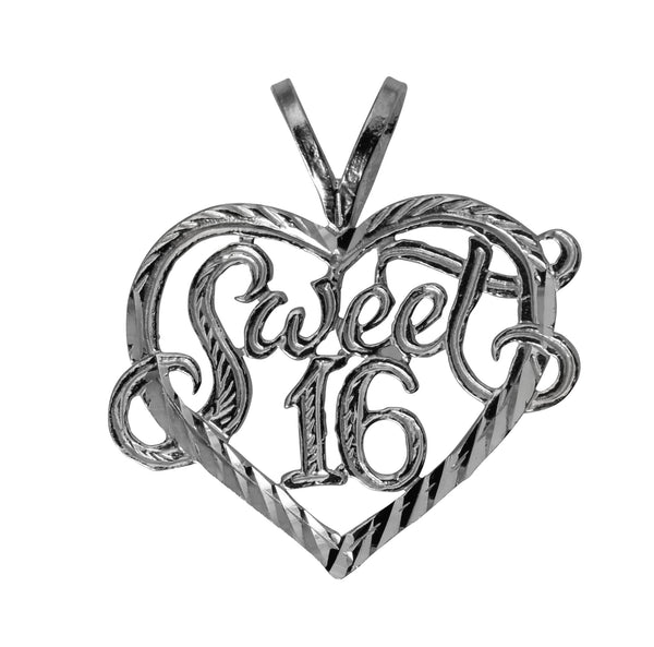 14K Real White Gold Sweet 16 Anos Quinceanera Heart Diamond Cut Charm Pendant