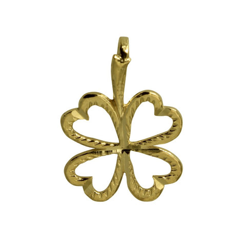14K Real Yellow Gold Diamond Cut Tiny Light 4 Four Leaf Clover Charm Pendant