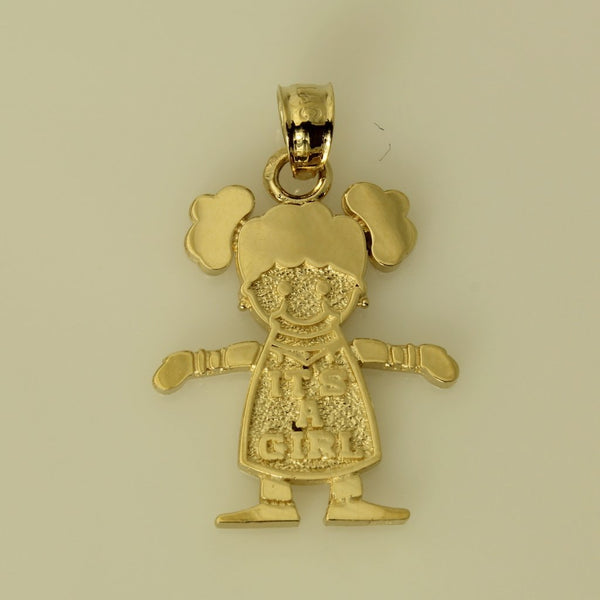 "14K Real Yellow Gold ""It's A Girl"" Small Charm Pendant for Children"