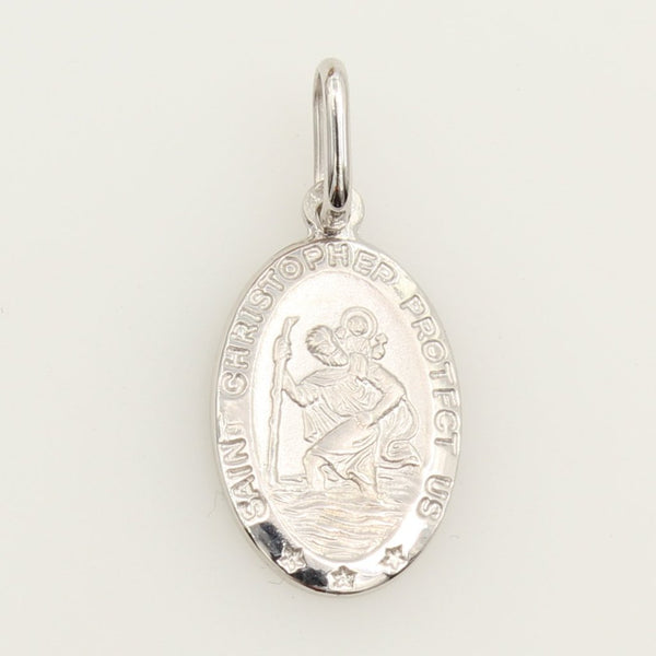 "14K Real White Gold Religious ""Saint Christopher Protect Us"" Medal Small Charm Pendant"
